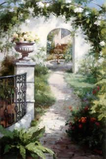 33W x 22H Flowered Archway by Haibin - Stretched Canvas w/ BRUSHSTROKES