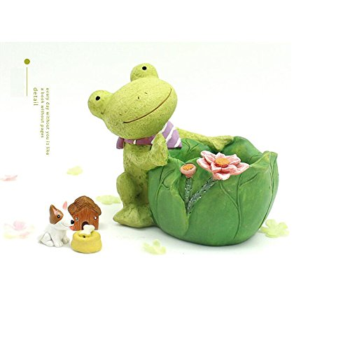 HEHEN Looking up at the sky series of flowerpots Creative Cartoon Home Decoration Succulent Flower Pots/Resin Plant Pot(Mint Frog) (Mint Frog)