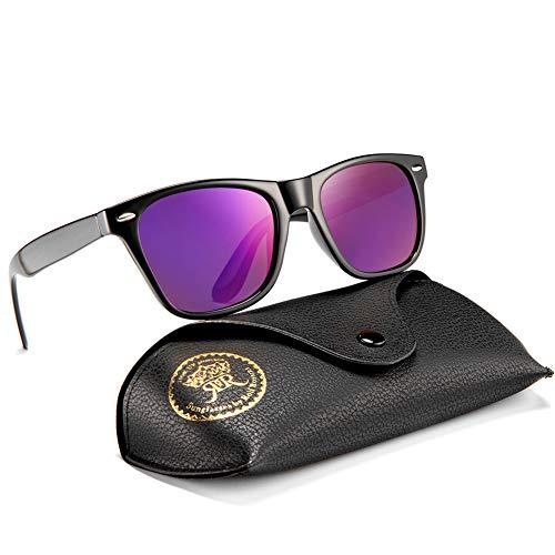 Vintage Polarized Sunglasses for Men Retro Women Square Sun Shades Driving Glasses UV400 Protection with Case (Black, ()