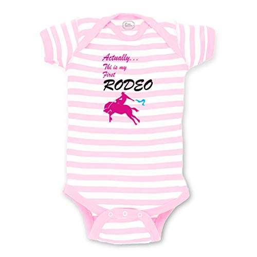 Actually This is My First Rodeo. Short Sleeve Envelope Neck Boys-Girls Cotton Baby Fine Stripes Bodysuit - White Soft Pink, 18 Months