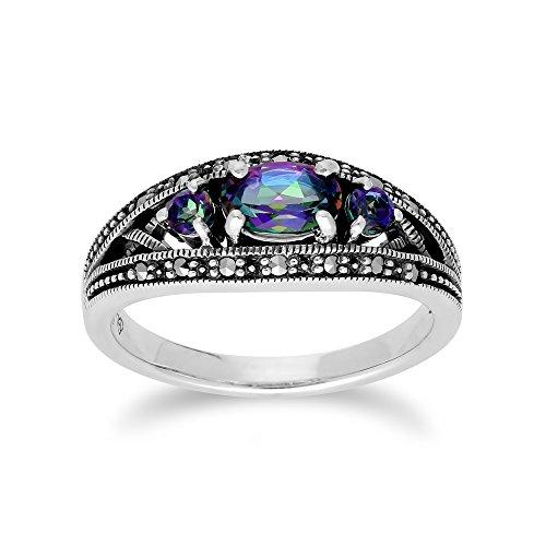 Gemondo Mystic Green Topaz Ring, Sterling Silver Triple Mystic Green Topaz & Marcasite Ring - Green Marcasite Ring