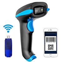 NADAMOO 2D Wireless Barcode Scanner (2-in-1 433Mhz wireless & USB2.0 Wired) 1D QR PDF417 Data Matrix Bar Code Scanner Cordless CMOS Image Barcode Reader for Mobile Payment Computer Screen