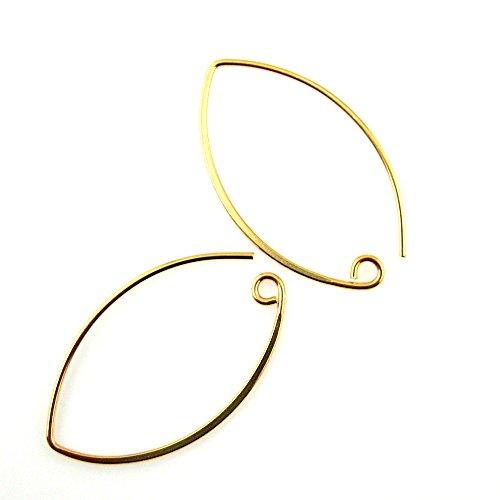 22K Gold plated Sterling Silver 36mm Marquise Earwire, Vermeil Earring Findings, Large Hoops (Sold Per Pair) 22k Gold Vermeil Hoop