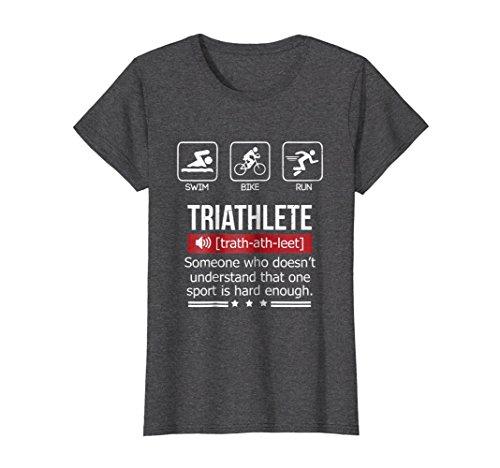 Womens Funny Humor Triathlon sports T-Shirt Medium Dark Heather Triathlon Gear Clothing