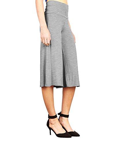Moollyfox Mujer Confortable Talle Alto Poliéster Suelto Casual Rígido Pantalón De Pierna Ancha Luz Gris