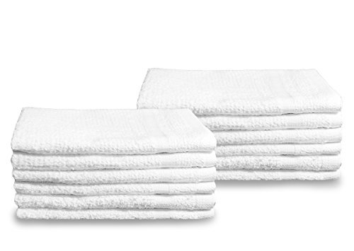 Pacific Linens 60-Pack White 100% Cotton Towel Washcloths, Durable, Lightweight, Commercial Grade and Ultra Absorbent