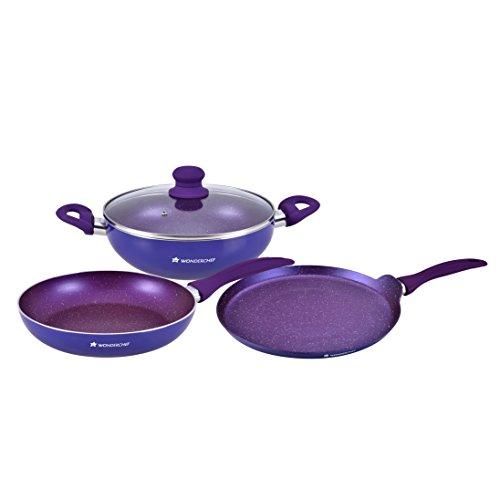 Wonderchef Blueberry Induction Base Aluminium Cookware Set, 3 Pieces, Blue