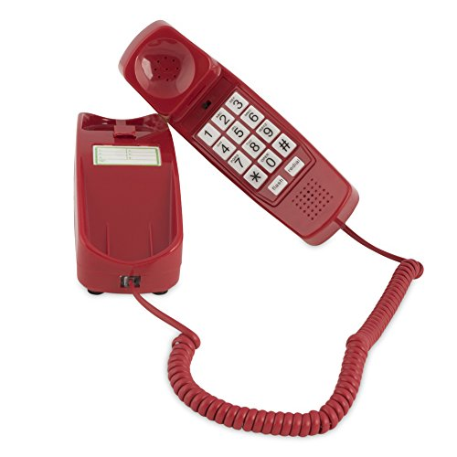 Trimline Corded Phone - Phones for Seniors - Phone for Hearing impaired - Crimson Red - Retro Novelty Telephone - an Improved Version of The Princess Phones in 1965 - Style Big Button (Phone Control Volume Corded)