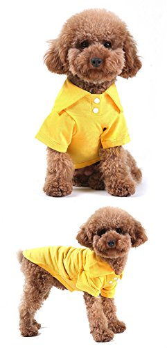 Party Costume And Display Seattle (GohEunGyung shop【Yellow M】Pet Puppy Summer Shirt Small Dog Cat Pet Clothes Costume Apparel T-Shirt)