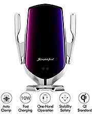 Hinyx Kabelloses Auto Ladegerät, 2 in 1 Qi 10 W Schnellladung Automatisches Spannen Auto Entlüftung Halterung Handyhalter für Samsung Galaxy S9/S9+/S8/S8+/Note 8/5/ Apple iPhone 8/8 Plus/X/XS/Max/XR