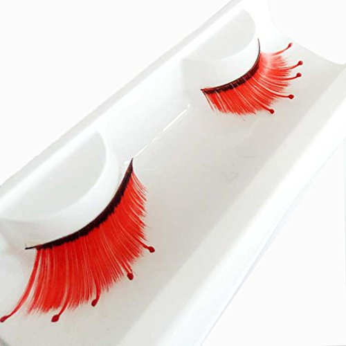 Red Contacts Halloween (Franterd Red Wave False Eyelashes - A pair Halloween Party Makeup Arts Eye Lashes)