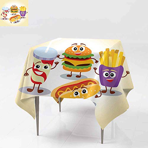 AFGG Waterproof Table Cover,Funny Cute Fast Food Hamburger French Fries Lemonade h,for Events Party Restaurant Dining Table Cover 60x60 Inch ot Dog with Smiling Human face