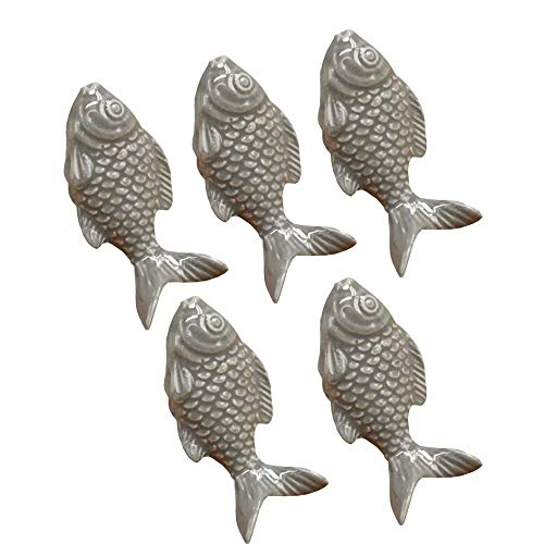 FirstDecor 5PCS Vintage Ceramic Door Knob Fish Shape Locker Pull Handles Drawer Cupboard Cabinet Knobs Wardrobe Home Kitchen Hardware-Grey