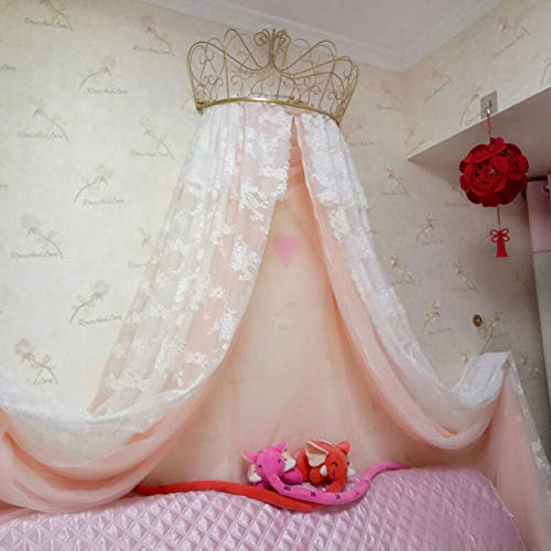 HOMEJYMADE Crown Dome Mosquito Net,Princess Bed Canopies Kids Play House Princess Tent Sparkly Stars HOT in Instagram