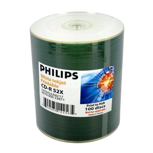 100 Philips 52x CD-R 80min 700MB White Inkjet Hub