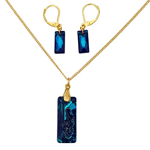 an Blue Swarovski Crystal Druzy Pendant Gold Necklace and Earrings Set ()