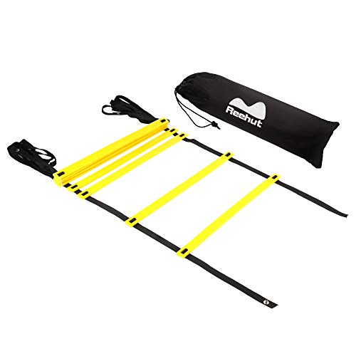 REEHUTAgilityLadderw/FreeUserE-Book+CarryBag-SpeedTrainingEquipment (Yellow, 8 Rungs)