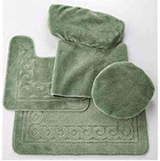 Madison Industries Scroll 5 Piece Rug and Toilet Tank Set  Sage Green. Amazon com  Blue 5 Piece Rug  Contour  Lid  Tank Lid   Tank Cover