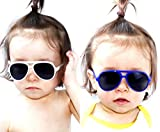 Kd37 Baby toddlers infant Age 0~36 months Turbo Aviator kids Sunglasses glasses (Pack of 2(white+blue), UV400)