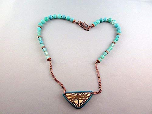 Amazon Com Triangle Dragonfly Clay Pendant Necklace Green Matte