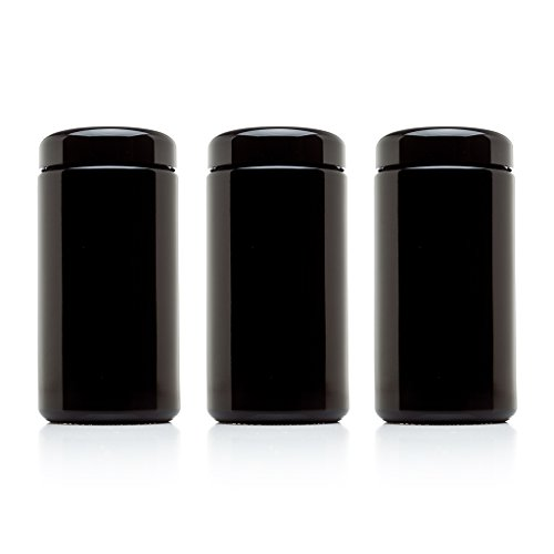 Infinity Jars 500 ml (17 fl oz) 3-Pack Tall Large Black Ultraviolet Glass Wide Mouth Screw Top Jar