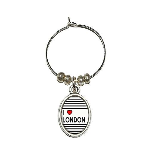 London Red Heart Charm (I Love Heart London Wine Glass Oval Charm Drink Marker)