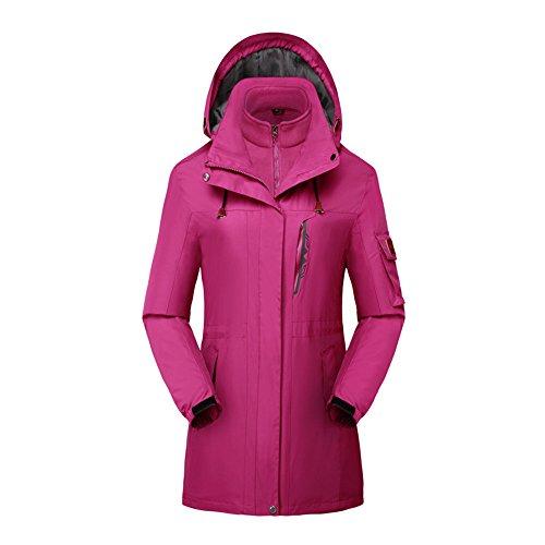 Women's 3 in 1 Waterproof Insulated Ski Snowboard Interchange Jackets Rain Coat Purple-mid-length US-M/Tag-2XL(5.6'/130bl)