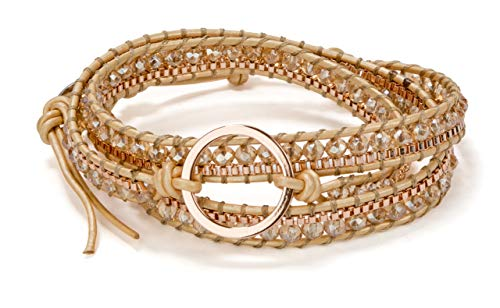 - SPUNKYsoul 3 (Triple) Wrap Bead Bracelet for Women Collection (Rose Gold Circle)