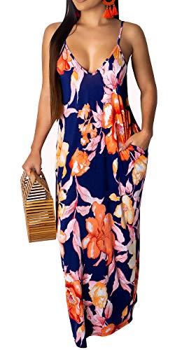 Womens Sexy Summer Spaghetti Strap Bohemian Printed Beach Sundress Loose Plus Size Long Maxi Dresses with Pockets (Bohemian Sundress Dress)