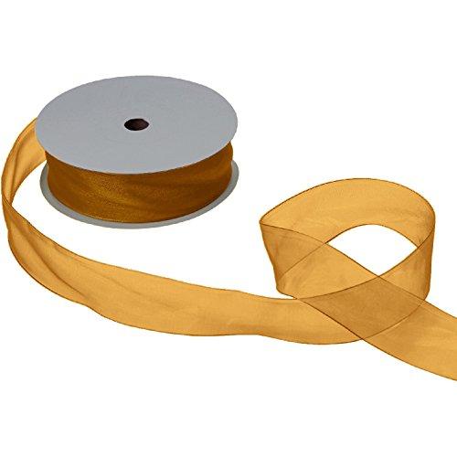 Jillson & Roberts Organdy Sheer Ribbon, 1 1/2'' Wide x 100 Yards, Gold by Jillson Roberts