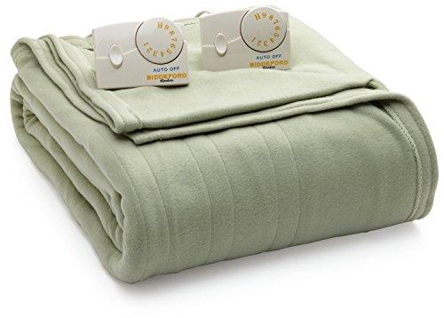 Biddeford Blankets Twin Comfort Knit Heated Blanket, Sage