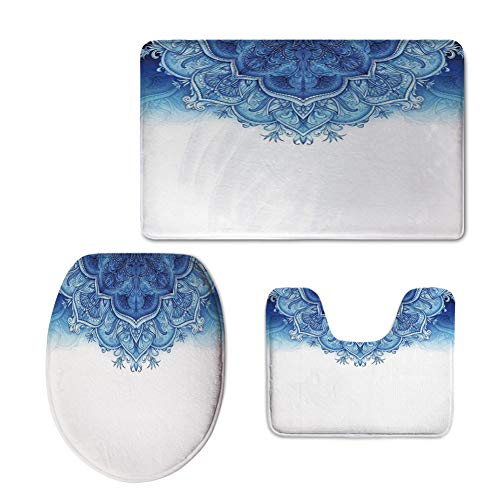iPrint Fashion 3D Baseball Printed,Moroccan,Floral Artwork Vintage Islamic Architectural Decorative Elements Oriental Pattern,Blue White,U-Shaped Toilet Mat+Area Rug+Toilet Lid Covers 3PCS/Set by iPrint