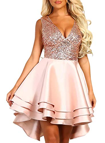 Satin Dress Sequin - Sidefeel Women Deep V Neck Sleeveless Sequin Ruffled Hem Skater Cocktail Mini Dress Small Pink