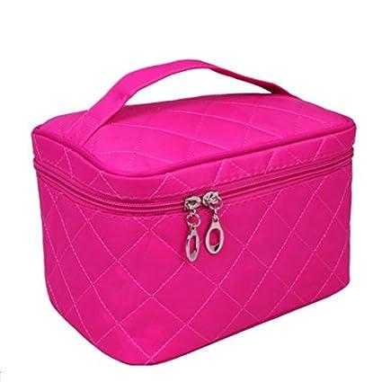 Estuche de maquillaje con diseño de lunares para mujer, doble capa, bolsa para guardar productos cosméticos, neceser