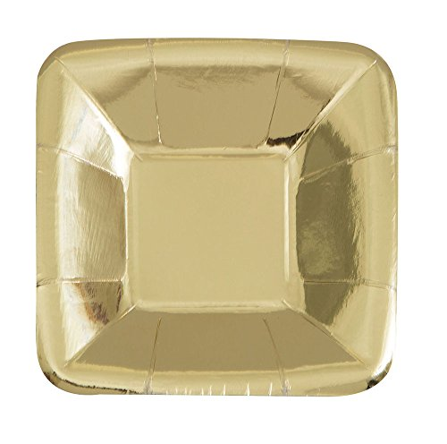 Foil Gold Square Paper Appetizer Plates, 8ct Gold Flat Cake Plate