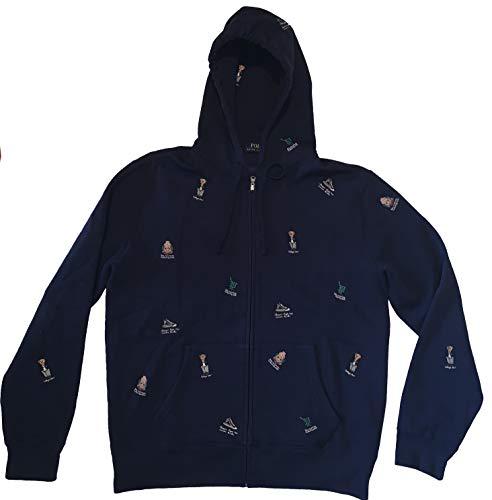 Men's Full Zip Oxford Club College Bear Hoodie Sweatshirt (Navy, Large)