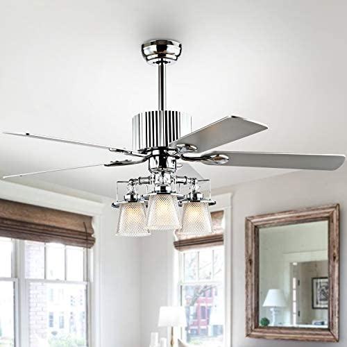 Safavieh CLF1000A Parlin 3-Light Silver/White Maple Reversible Blades 52″ 3-Speed Remote LED Bulbs Included Ceiling Fan