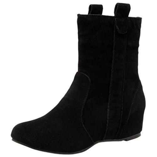 Comfort Women Hidden Black Short On Pull COOLCEPT Heel 233 Boots Autumn 5AqBwPxd