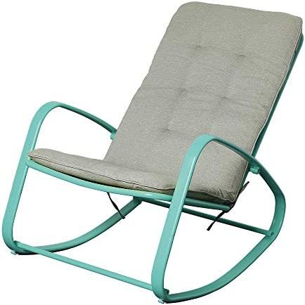 U-Eway Outdoor Patio Rocker Chair Metal Wide Ergonomic High Back Padded Steel Supportive Removable Cushion Fold Reclining Glider for Porch Balcony Yard Deck Green