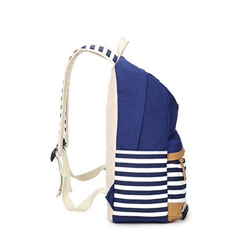 Honeymall Fashion Mädchen Schulrucksack Damen Canvas Rucksack Teenager Baumwollstoff Streifen Schultasche Daypacks(Grün) Grün