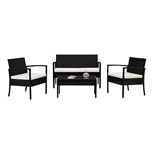Patio Furniture Set, 4 Piece Outdoor Conversation Set, Wicker Table, 2 Chairs And Loveseat with Cushions (Ivory) price