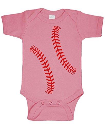 Onesie Softball (Baseball Stitches - Ball Softball Hard - Cotton Infant Bodysuit, 6m, Pink)