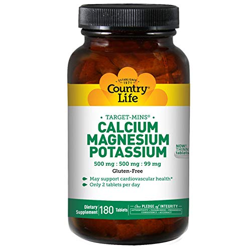 Country Life Target Mins - Calcium Magnesium Potassium, 500mg/500mg/99mg - 180 Tablet (Target Supplement)