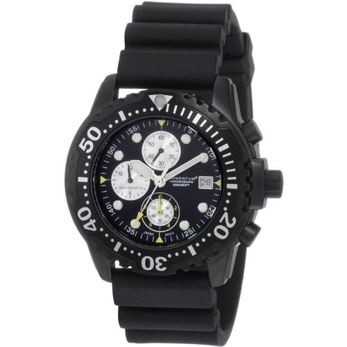 New St. Moritz Momentum Shadow II Chrono Men's Dive Watch & Underwater Timer for Scuba Divers with Black Dial & Black Hyper Rubber (Chrono Black Dial Rubber Band)