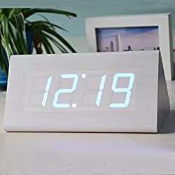 SPA Tool® Battery or USB Powered Triangle - Desktop Home Office travel Clock with Time Display and Voice Control (White wood Blue LED)
