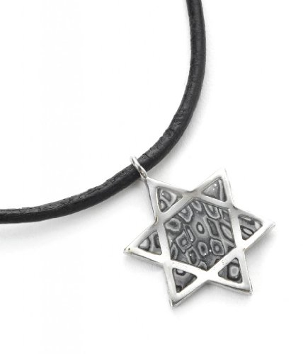Adina Plastelina Handmade Jewelry 925 Sterling Silver Men's Star of David Necklace Jewish Pendant with Polymer Clay, 18.9