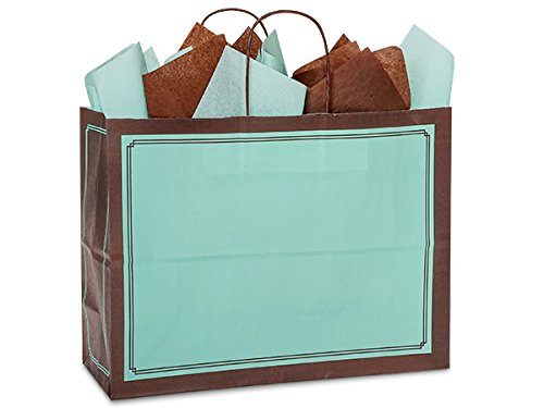 Pack Of 250, Vogue 16 x 6 x 12.5'' Solid Aqua & Chocolate Duets Shopping Bag Made In USA by Generic