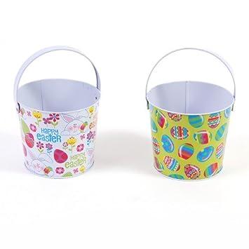 flomo easter round tin buckets assorted 2 buckets tinpot bucket metal tub