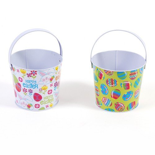 FLOMO Easter Round Tin Buckets - Assorted - 2 buckets - tinpot bucket, metal tub, tin pails -