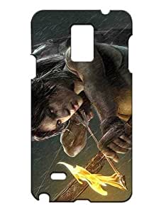 Tomb Raider Cell Phone Cover Case Hülle for Samsung Galaxy Note 4 Funda Piel Cool Game Girls Boys (Negra and Diseño) 3D Solid Plastic Protection Luz Vintage Non Slip Anti Drop Case for Galaxy Note 4